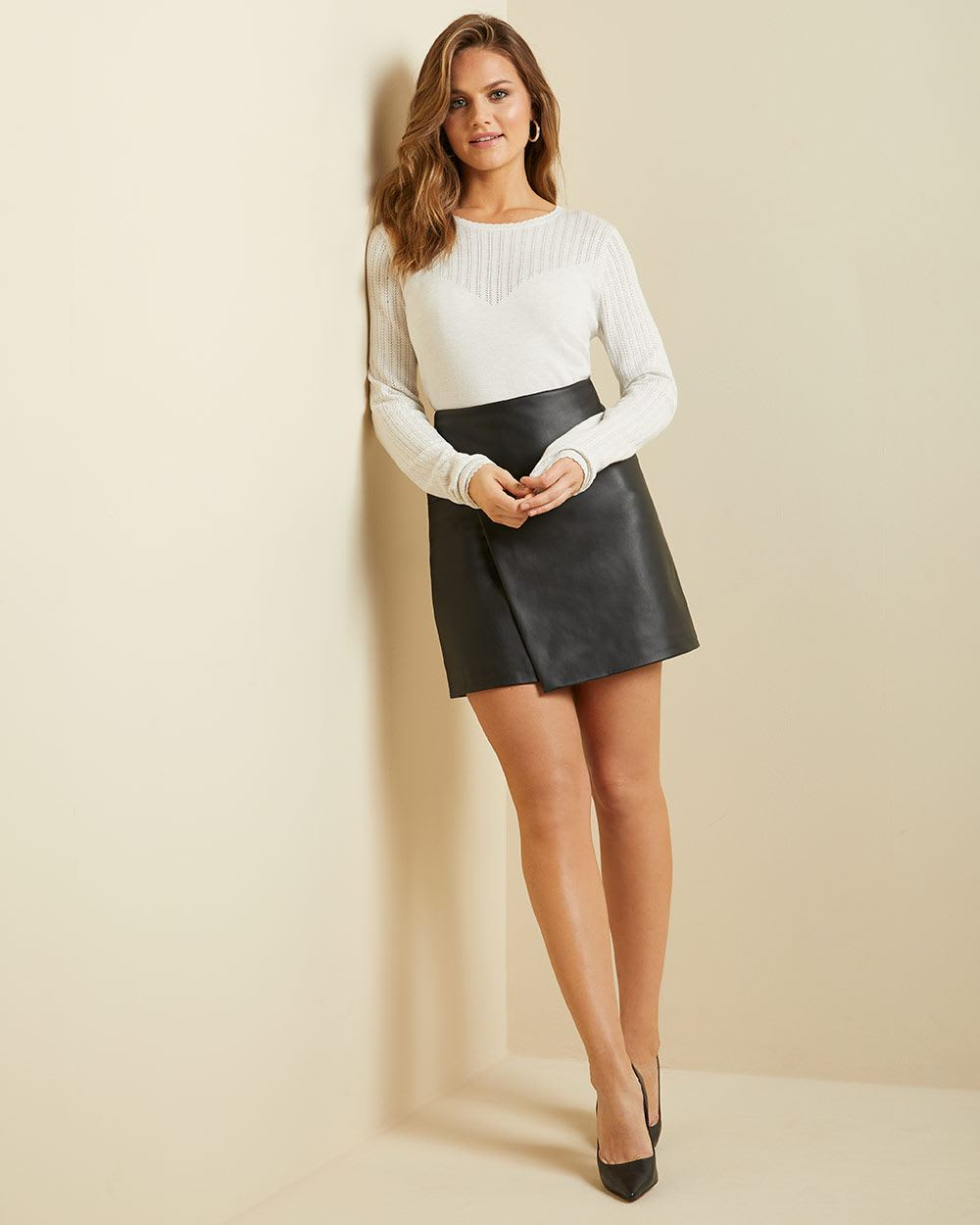 Cashmere-like crew-neck sweater with pointelle stitch