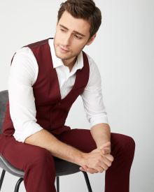 Marsala Red suit vest