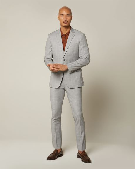 Slim fit grey windowpane suit pant