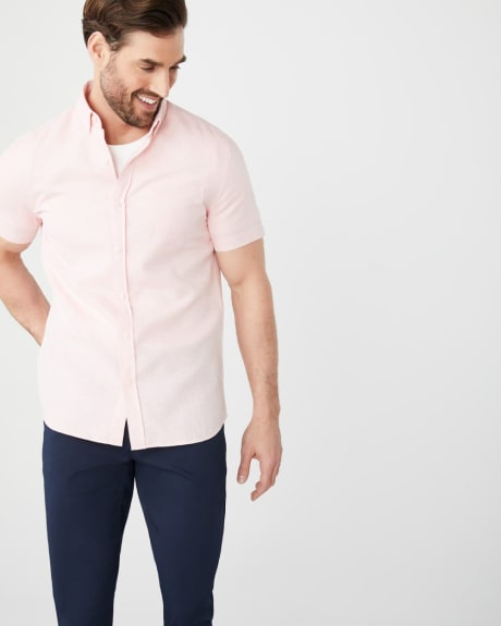 Slim Fit short sleeve linen-blend shirt