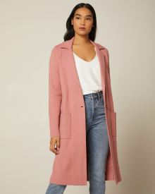 Long solid sweater coat