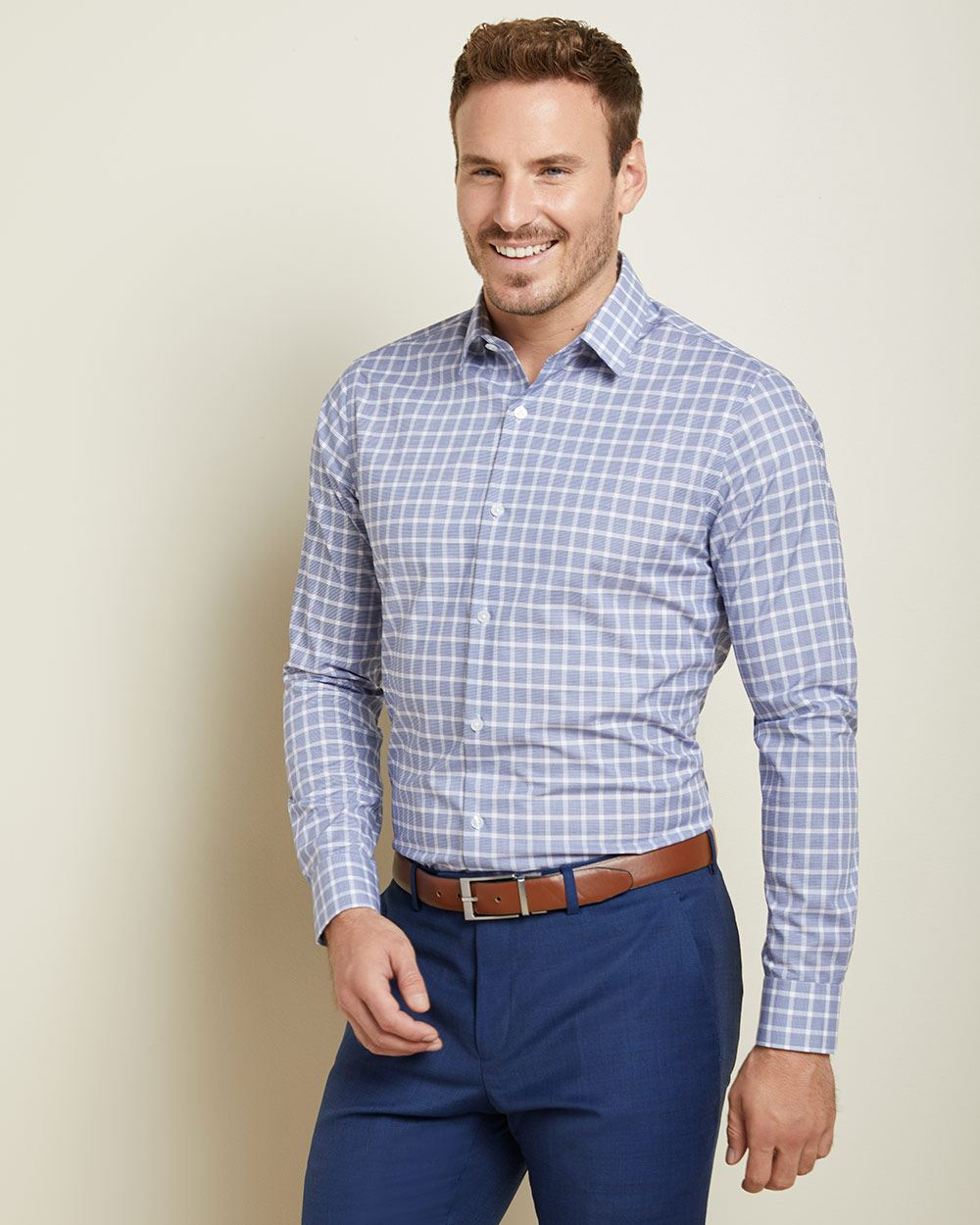 Athletic Fit checkered performance dress shirt