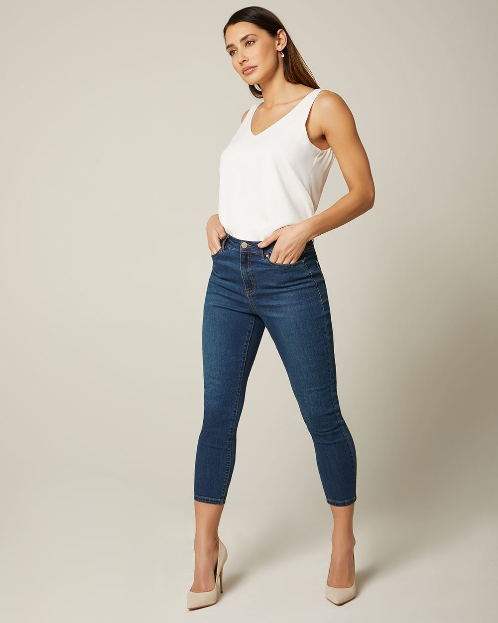 Natalie high-waisted cropped blue wash denim jegging