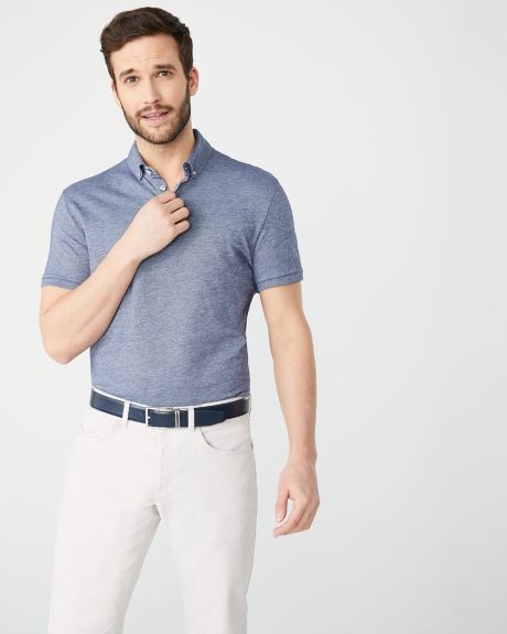 Short sleeve button-down collar piqué polo