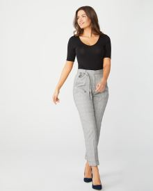 High-waist Stretch Grey plaid paper bag pant