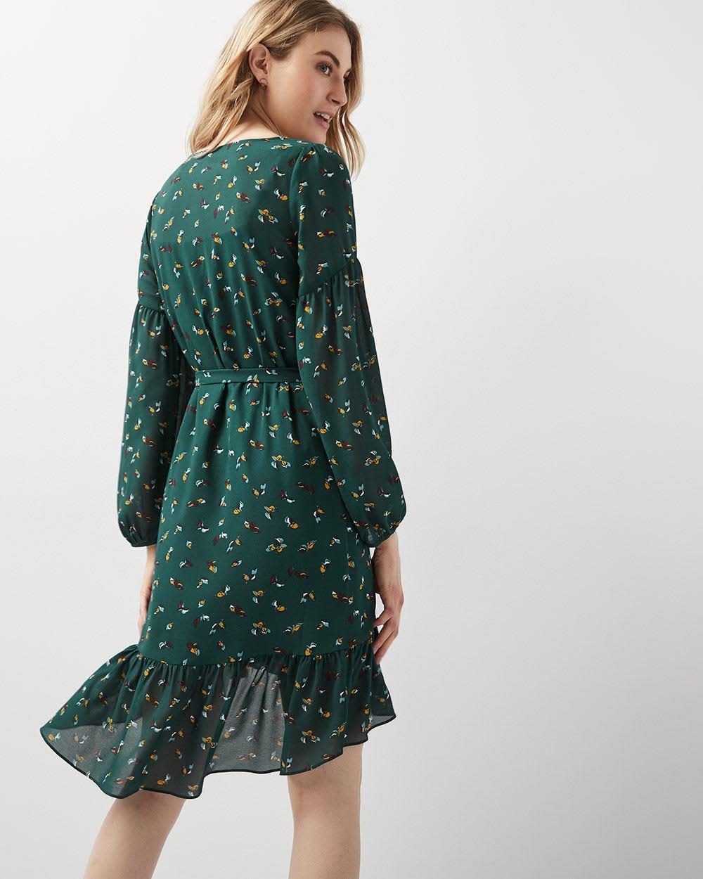 bc627d9765 Ruffled-hem Belted crepe dress
