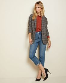 Long fitted Double-breasted textured blazer