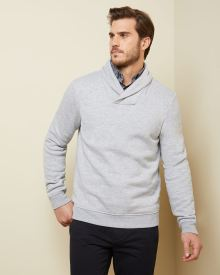 Fleece shawl-collar sweater