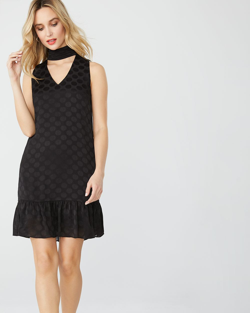 Shift Jacquard dot cocktail dress