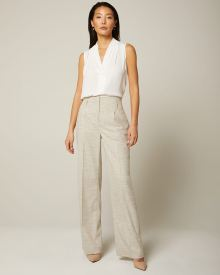 Slub High-waist Signature fit wide Leg Pant