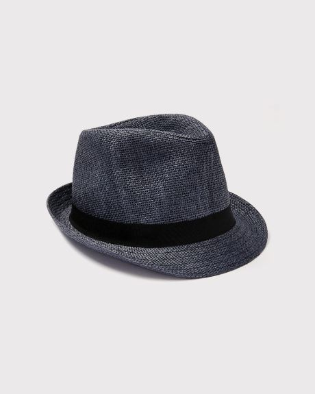 Navy blue straw Fedora hat