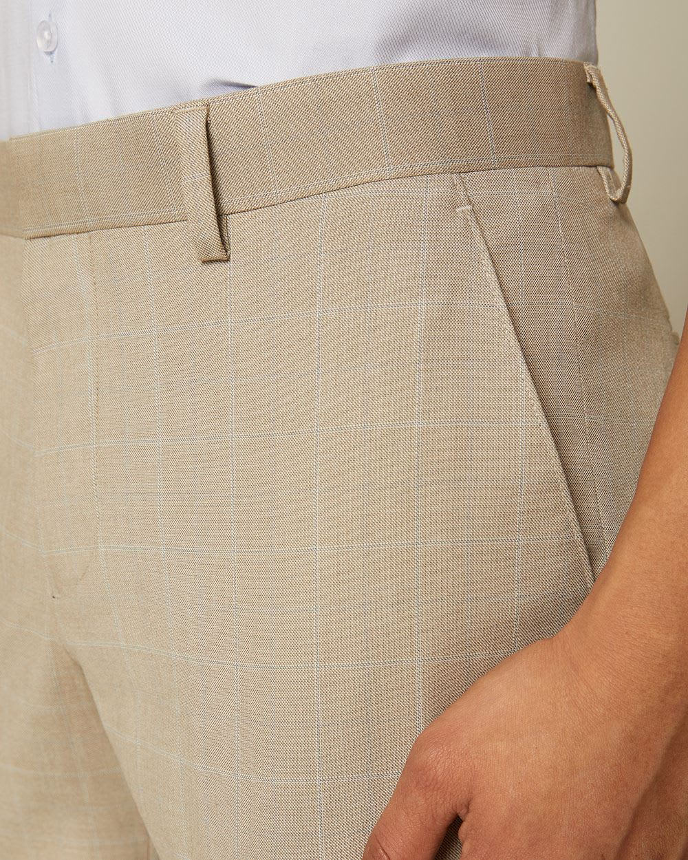 Tailored Fit Light Beige Windowpane City Pant