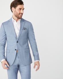 Slim fit light blue windowpane suit blazer