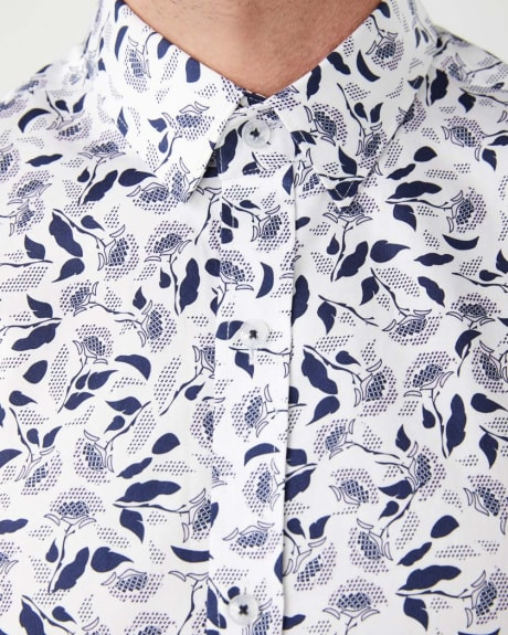 Slim Fit navy floral dress shirt