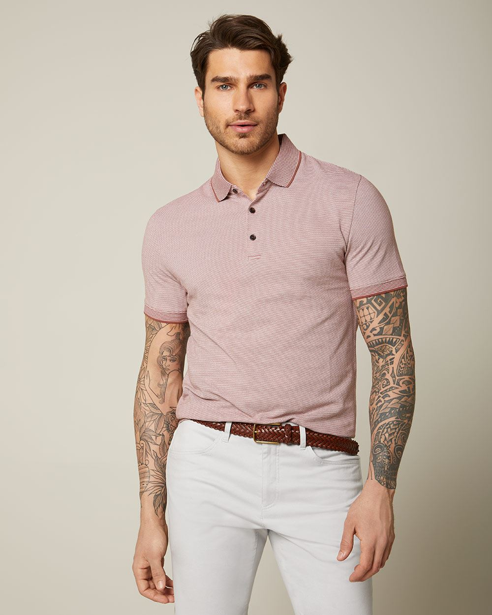 Short sleeve textured stripe polo