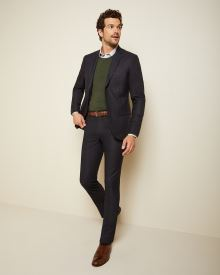 Slim fit Navy slub suit pant