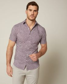 Tailored Fit Plum Geo Short Sleeve Shirt