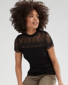 Lace and Crepe Mock-Neck T-Shirt