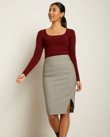 Houndstooth High-Waist Pencil Skirt with Slit