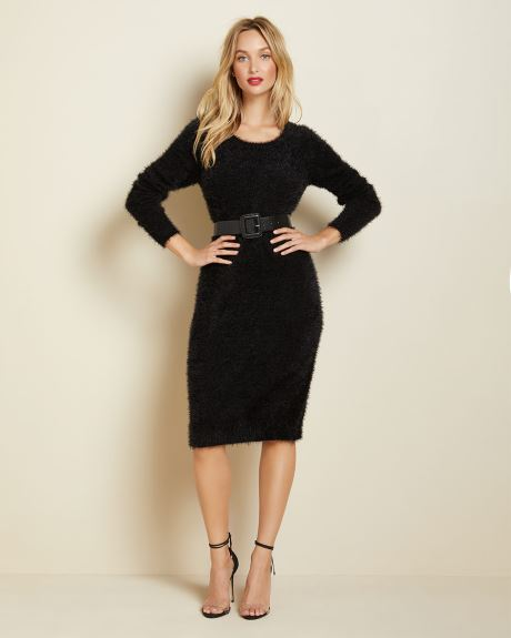 Long sleeve feather knit dress