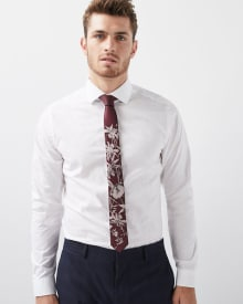 Slim Fit tonal floral jacquard dress shirt