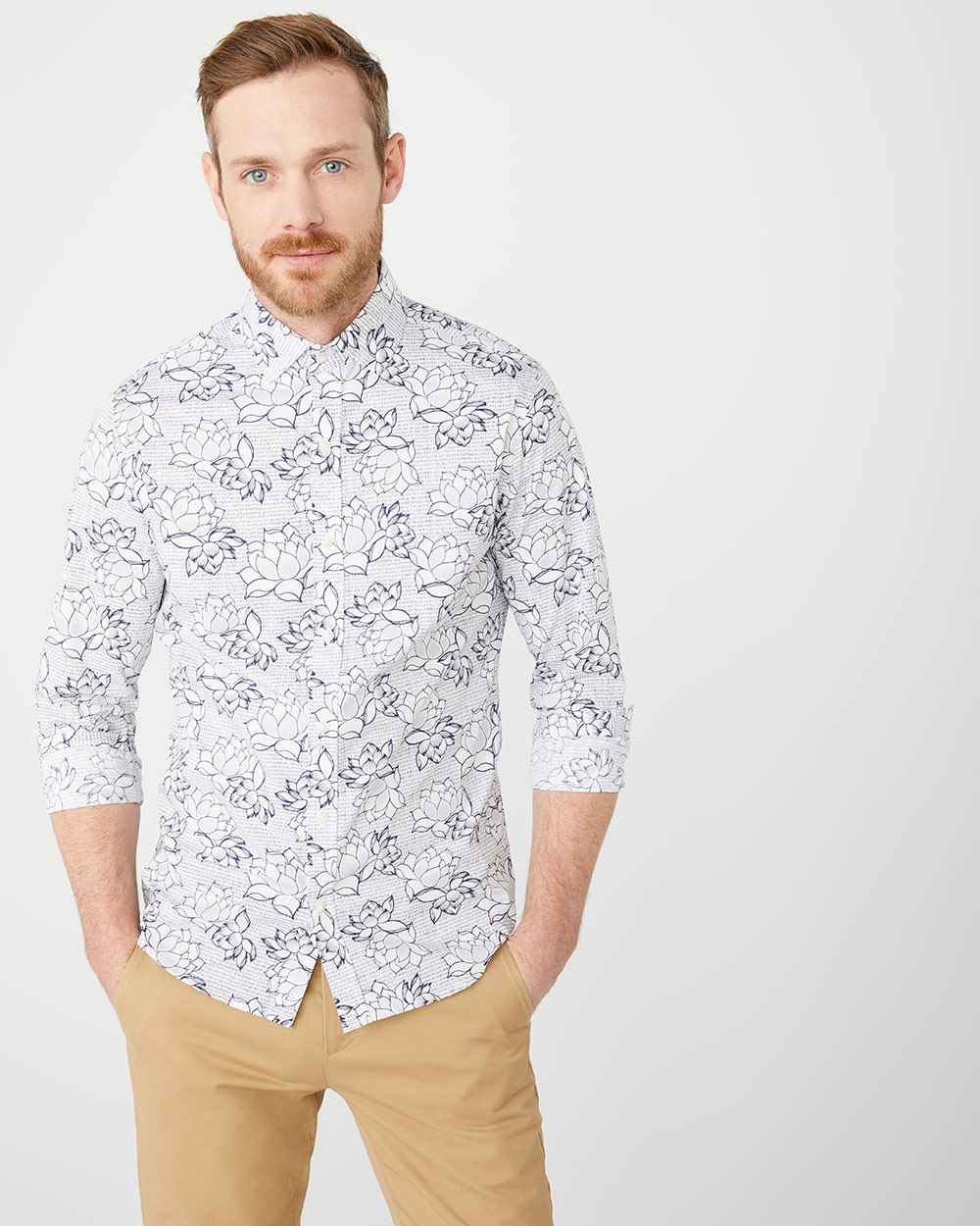 Slim Fit large blue floral Shirt