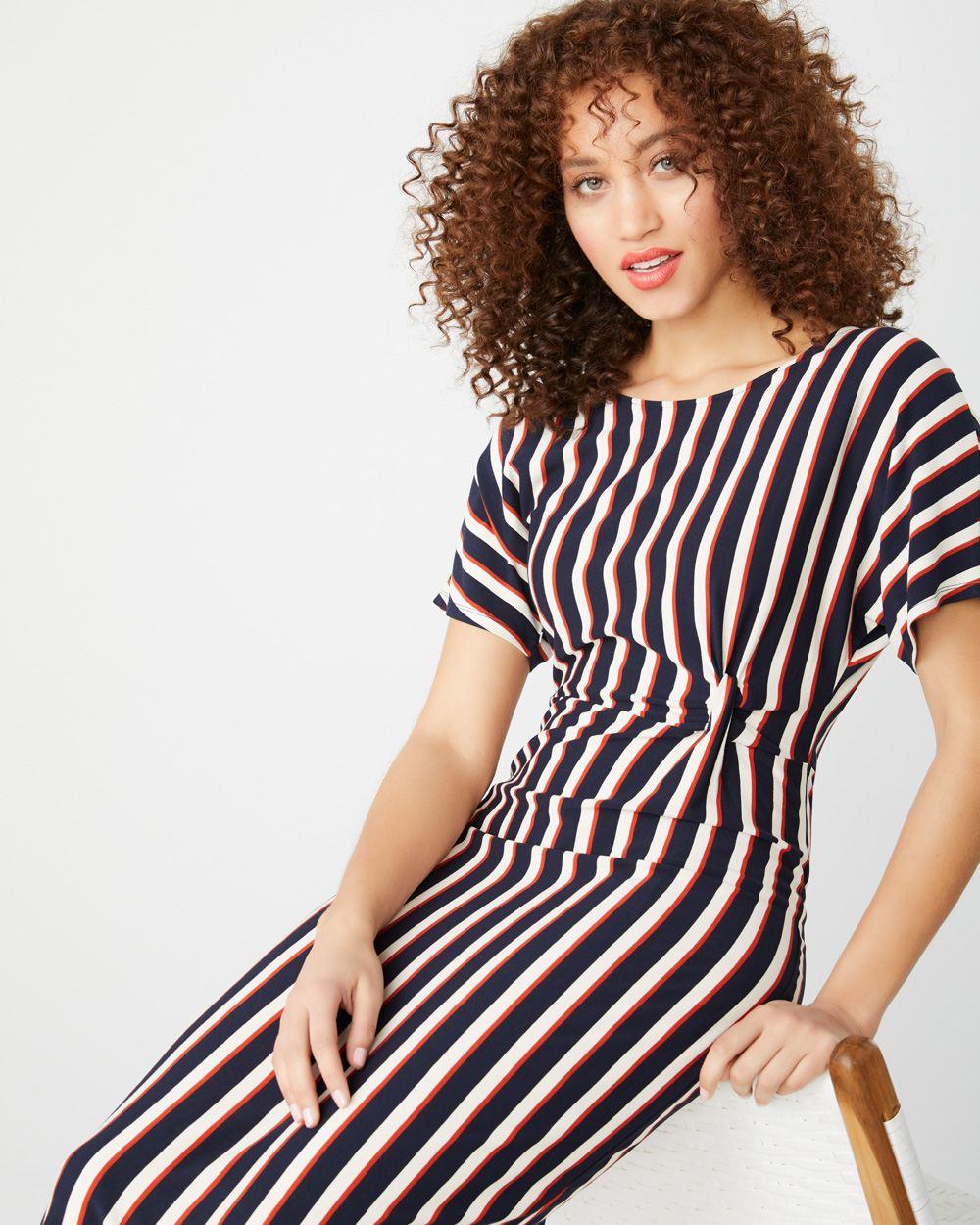 4d5b30bd5c Striped short sleeve midi dress
