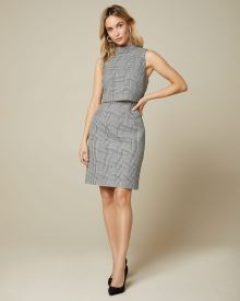 Glen Plaid Popover Crop Sheath Dress