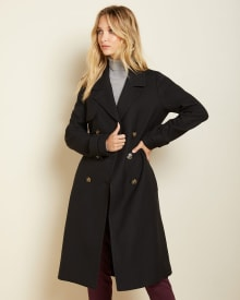 Black twill trench coat