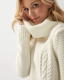 Textured patchwork cowl-neck sweater