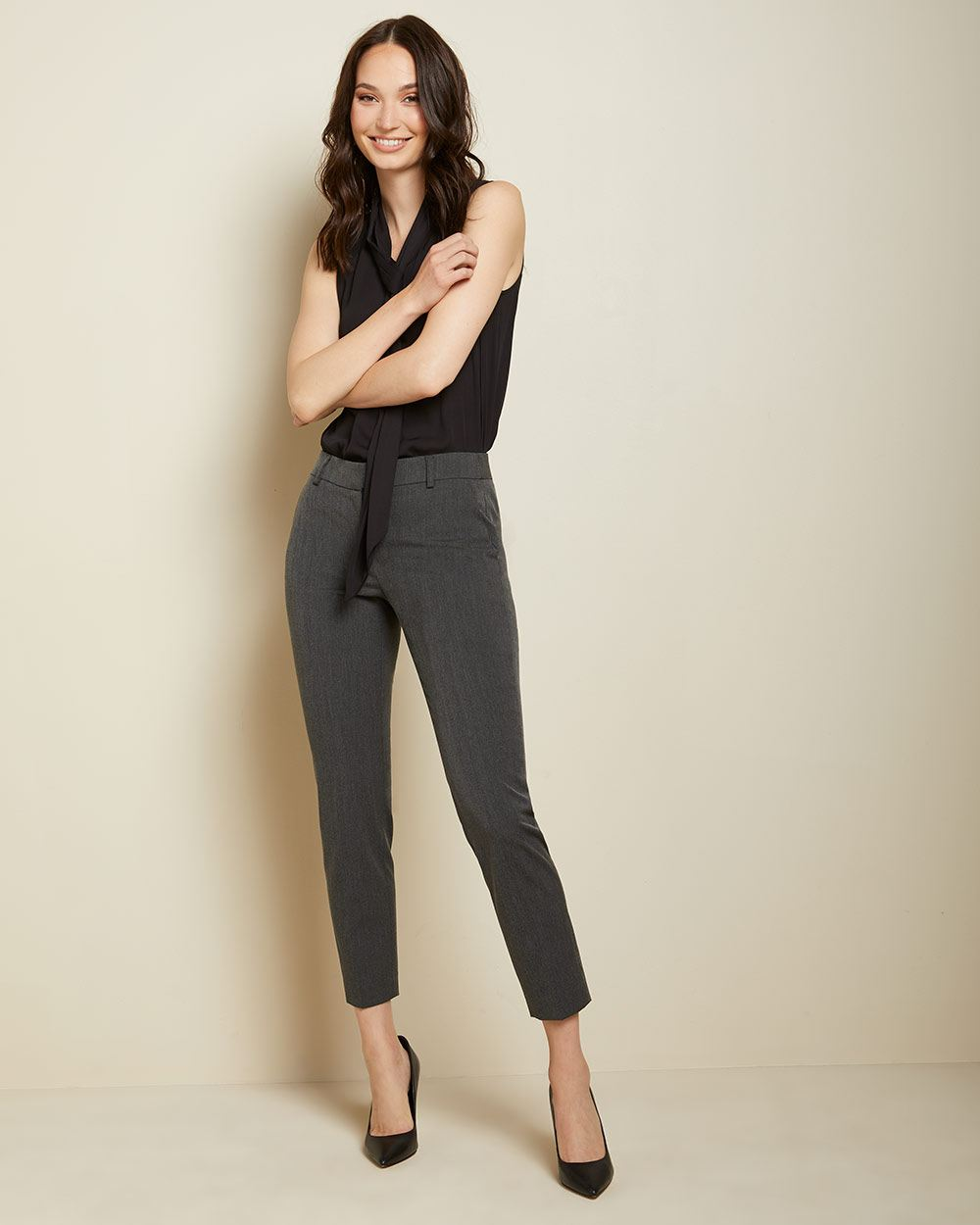 Grey Chevron Curvy Fit Slim Leg Ankle Pant by Rw & Co