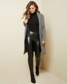 High-waist Knit and Faux leather legging pant
