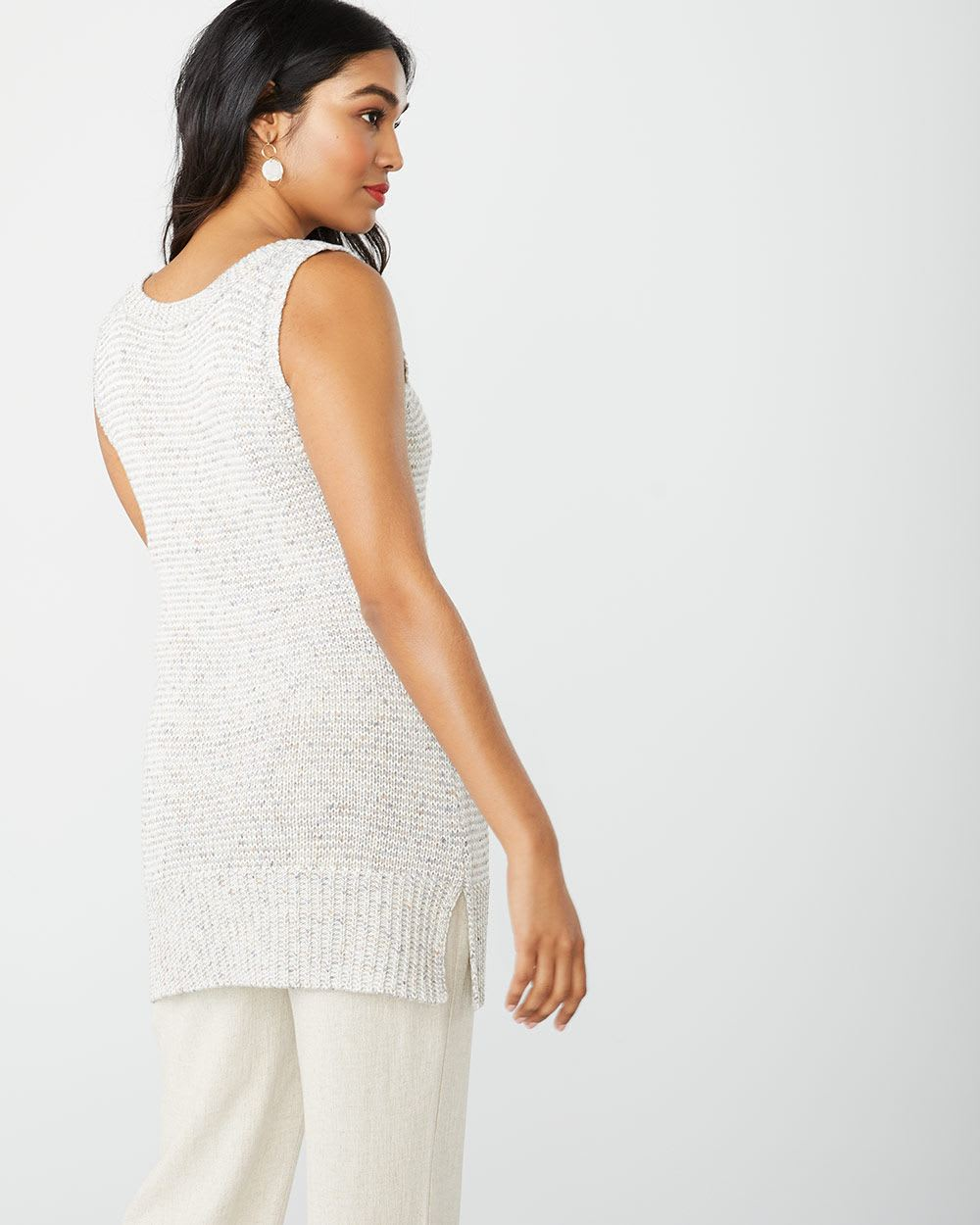 Sleeveless Speckled tunic sweater