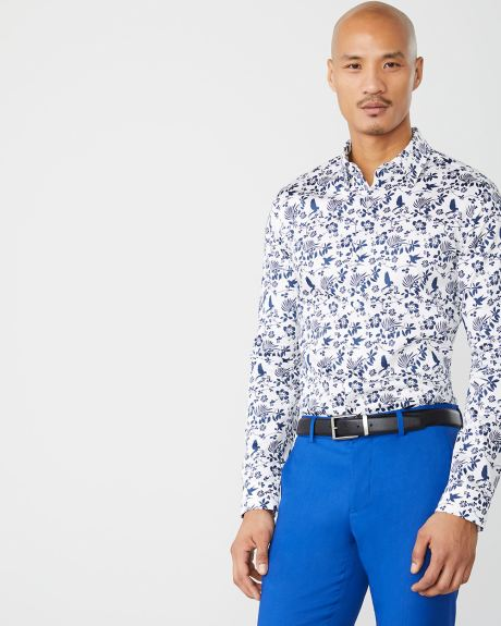 Slim Fit blue floral dress shirt