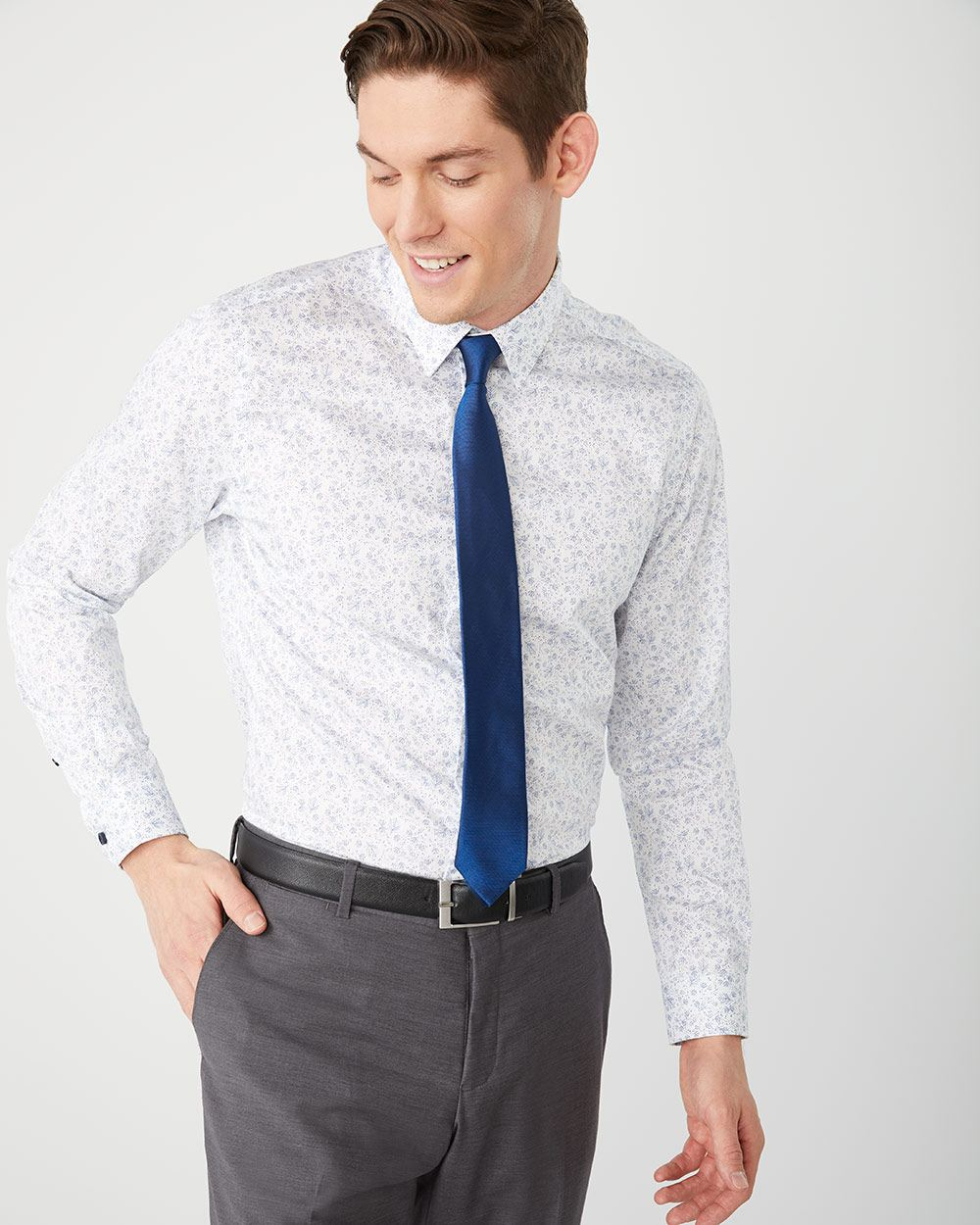 Athletic Fit Blue foliage Dress Shirt