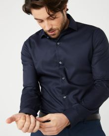 Slim Fit navy blue dress shirt