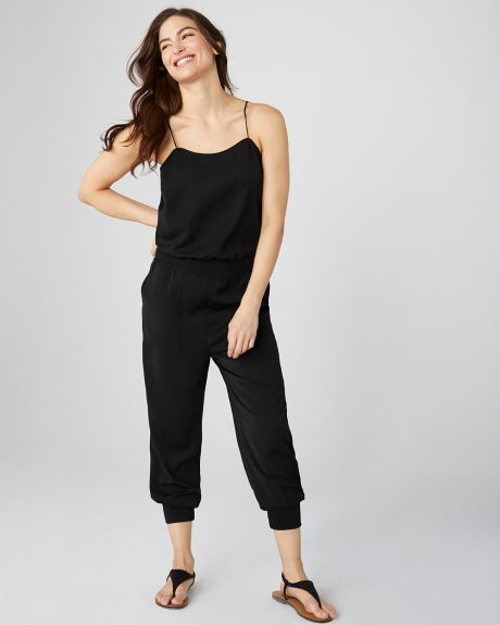 Ribbed cuff jumpsuit with thin straps