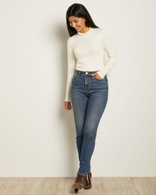 High-waisted Skinny Jeans in Blue Wash Denim