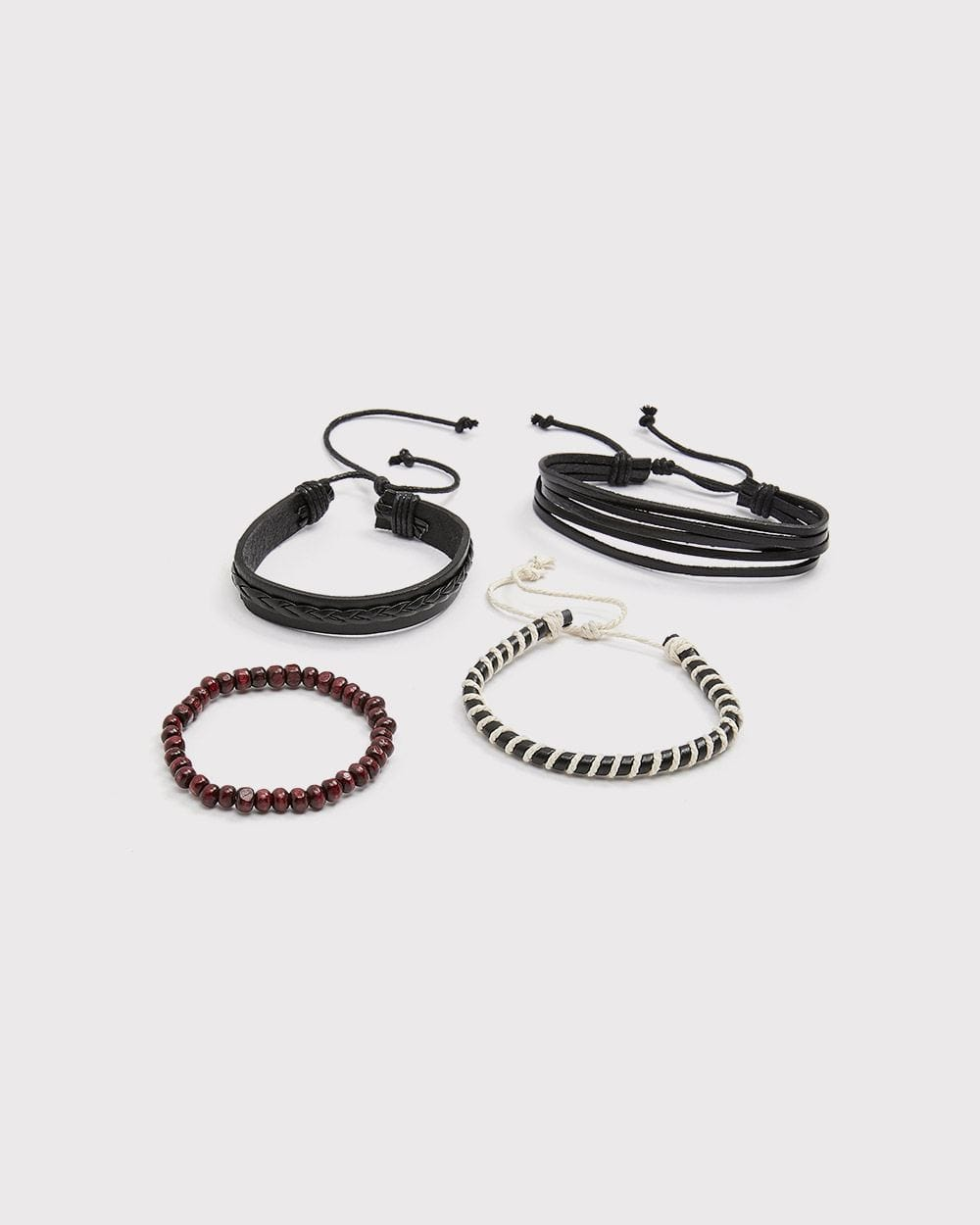 Black leather and beads bracelet set - Set of 4