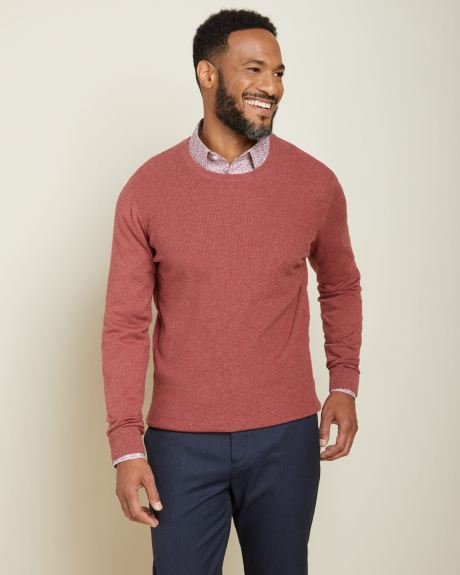 Textured stitch crew-neck sweater