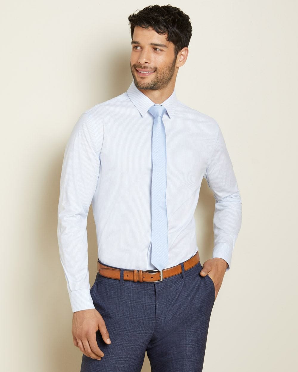 Athletic Fit striped performance dress shirt