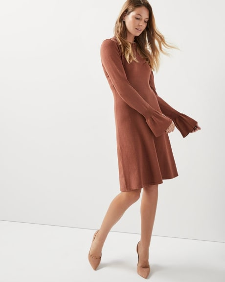 Fit and flare sweater dress with bell sleeve