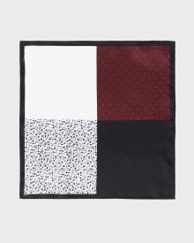4-way Colour block pocket square with black trim