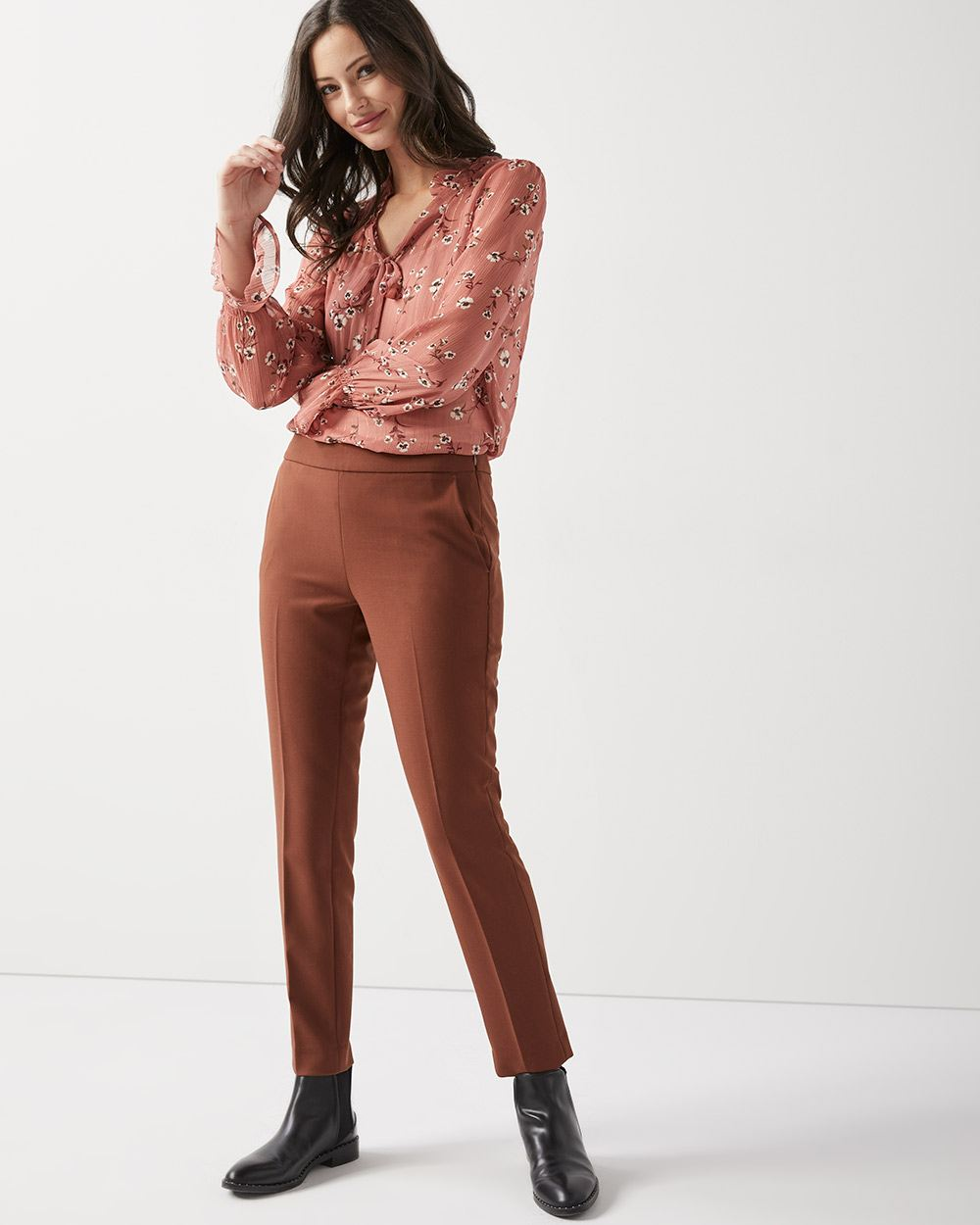 Stretch viscose Slim leg Ankle Pant