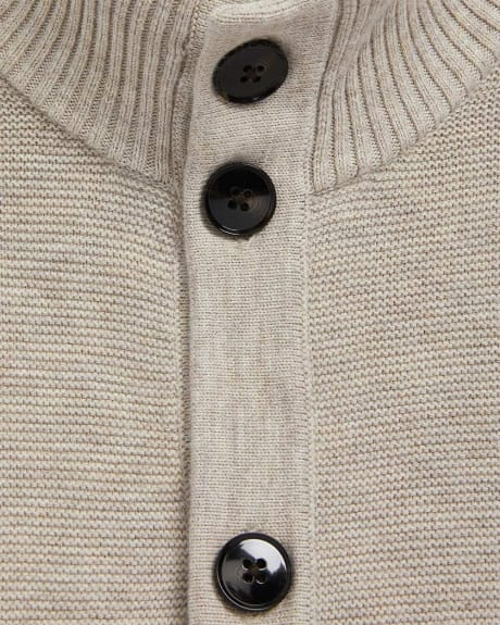 Mock-Neck Button-Down Cardigan