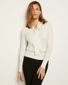 Spongy Knit Sweater with Neck Tie