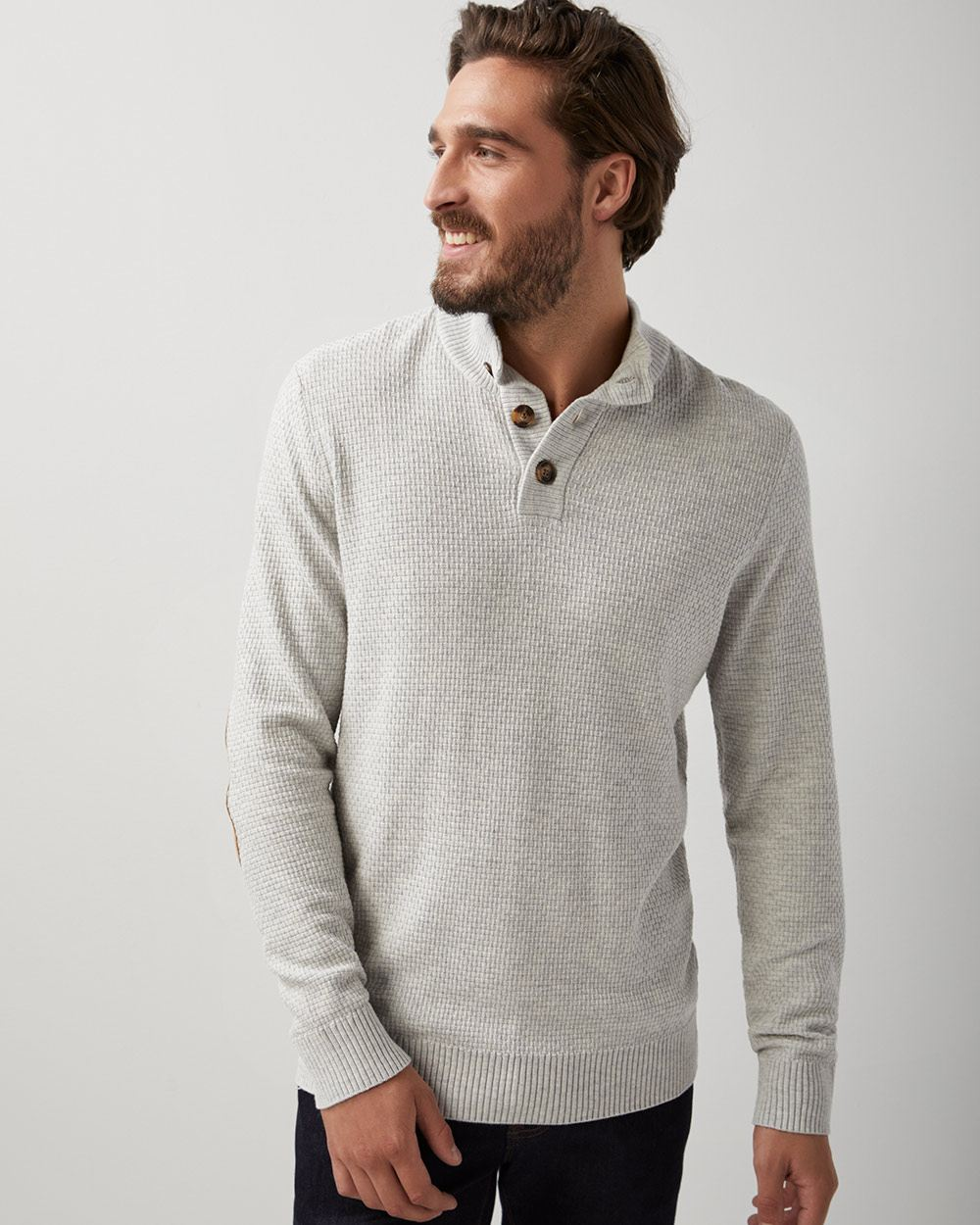 Buttoned mock-neck sweater