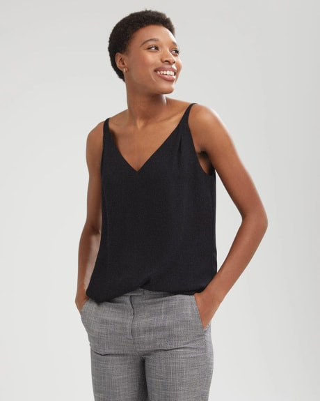 Crepe V-Neck Cami With Pleated Shoulder