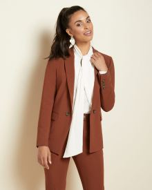 Rust brown fitted open blazer