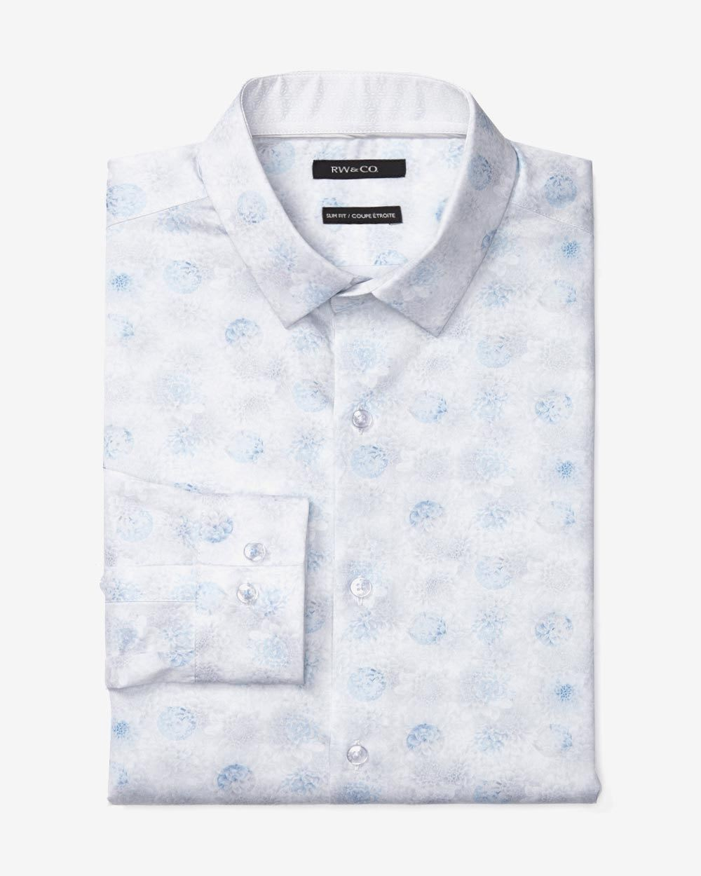 e38bf3b54a27 Slim Fit Flower Print Dress Shirt